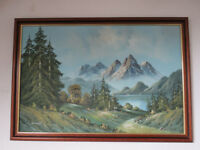 Large Landscape Oil Painting - Glacier Mountain Women Hiking Signed Hobart