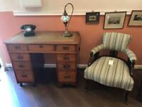 Desk, Edwardian era Campaign style small desk with pale green leather top ,very attractive & useful