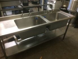 Double Sink ,Commercial,Deep Bowls, 180 W x 60 D X 90 H Each Bowl 60 W X 46 Back To Front x 30 Deep