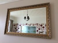 Excellent gold gilt effect patterned mirror
