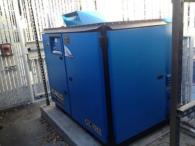 Kobelco Air Compressor 75 Hp Oil Free Rotary Screw Two Stage W Zpa Heat