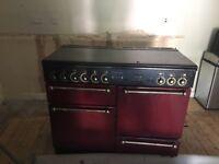 Rangemaster Dual Fuel Range Cooker in dark red