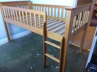 Childs Raised Wooden Bed plus Desk and Drawers