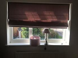 Purple blind, with matching lamp shades