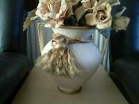 Beautiful detailed vase with ornamental flowers