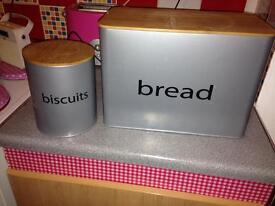 Bread bin and matching biscuit tin