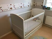 Marks and Spencer 'Ruby' Nursery Furniture - White Cot bed, Changing Unit and Wardrobe