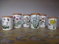 Portmeirion Botanic Garden Storage Canisters x 6