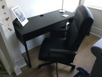 For sale: £85 - IKEA black 'Micke' desk and 'Malkolm' office chair - used but in great condition