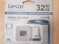 new Lexar 32GB Class 10 10MB/s High Speed Micro SDHC Memory Card with Reader, SD