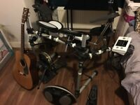 Electronic Drum, acoustic guitar and amplified speakers