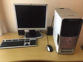 "Dell Dimension 5100 PC, 19"" flat screen monitor, mouse and keyboard"