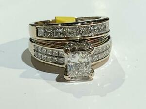 #164 14K WHITE GOLD 1.05CT PRINCESS CUT DIAMOND ENGAGEMENT RING 2.80CTW *SIZE 5* APPRAISED AT $18,550 SELLING FOR $6995!