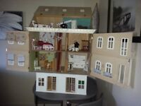 LARGE DOLL HOUSE WITH BASEMENT AND EXTRAS