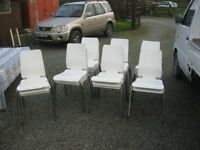 MODERN IKEA 'GILBERT' WHITE STACKING CHAIRS. SOLD INDIVIDUALLY (20 AVAILABLE IN TOTAL) VIEW/DELIVERY