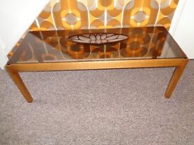 Vintage 60's/70's Teak & Smoked Glass Coffee Table