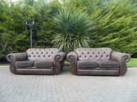 2 Large Chocolate Brown Chesterfield Style Sofa's (£285 For Both)