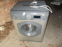 HOTPOINT WASHER/DRYER AND HOTPOINT GAS COOKER WITH GLASS SAFETY LID