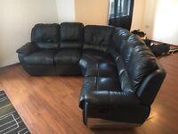 Navy leather recliner corner sofa