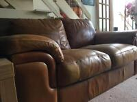 Two seater brown leather sofa x2