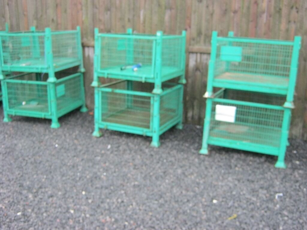 Heavy Duty Steel Stillages For Metal Crates Stackable Only 2 Left Viewing Storage