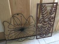 Two flowery metal wall arts
