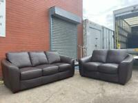 Absolutely Gorgeous real leather sofas 3&2 delivery 🚚 sofa suite couch furniture