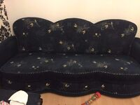 Set Of 2 Navy Modern Fabric Material Floral Patterned Living Room Sofa Beds - Excellent Condition