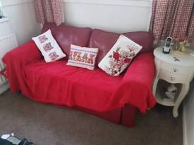 *BARGIN* Red leather sofa bed