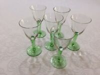 Set of 6 small green stemmed glasses