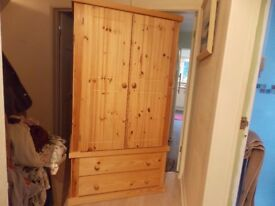 2 SOLID PINE WOODEN, 2 DOOR AND 2 DRAWER WARDROBES