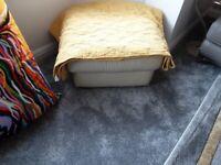 Leather storage stool