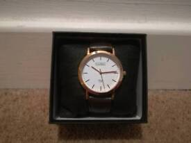Luke Henry rose gold watch - brown leather strap - £30