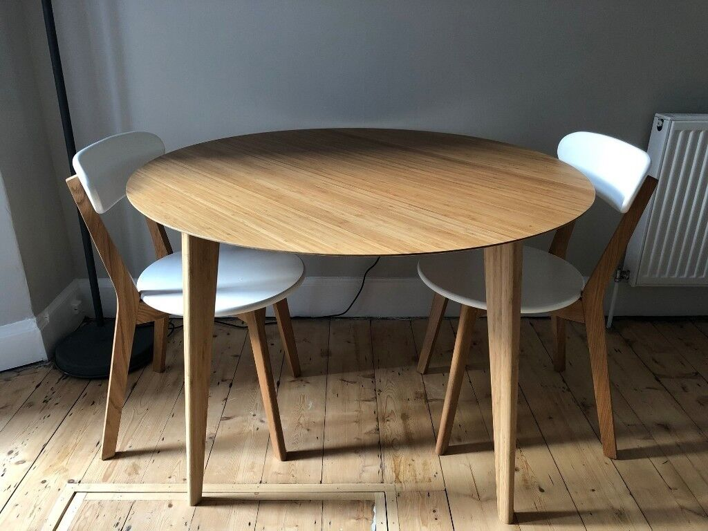 Ikea Finede Dining Table Bamboo Seats 4 110cm Diameter