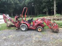 HONDA MINI TRACTOR DIGGER 4 WAY FRONT BUCKET AND REAR DEMOUNTABLE HOE WITH 3 BUCKETS