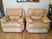 Lovely leather three piece suite in caramel/sand colour