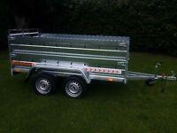 NEW Car trailers 8,7'x4,1' 1,3 twin axle,double broadside and ramp £ 1199 INC VAT