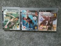 PS3 uncharted 1, 2 and 3.
