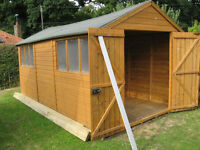 16 x 8 Workshop / Garden Shed * Apex Roof * Double Doors * GUC *
