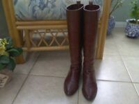 Ladies Tall Dark Chestnut Leather Riding Style Boots.
