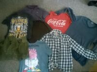 bundle of mens clothes , next ,burtons, topman and fathers day t shirts