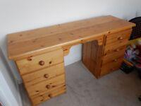 Pine dressing table/desk 8 drawers