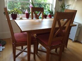 Extendable solid oak table and 4 chairs - COLLECTION ONLY