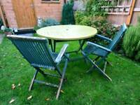 Hard Wood Garden Table and 3 chairs