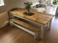 *Rustic Farmhouse Table & Two Benches! *