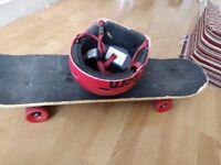 Skateboard with helmet