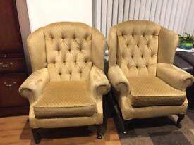 2x wing back armchairs