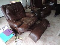 two leather recliner armchairs