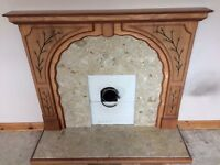 Mantlepiece, marble with wooden frame, engraved