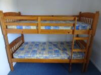 Pine Bunk Beds with Mattresses in Excellent Order